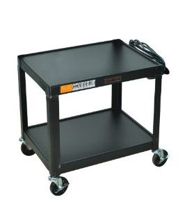 "Offex Black Mobile Fixed Height Steel Audio Visual 2 Shelf Storage Utility Cart With Electric, 4"" Heavy Duty Casters"