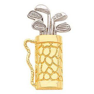2 Tone 14K White & Yellow Gold Golf Bag with Golf Clubs Pendant Jewelry