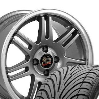 10th Anniversary 4 Lug Deep Dish Style Wheels and Tires with Machined Lip Fits Mustang (R)   Gunmetal 17x9 Set of 4 Automotive