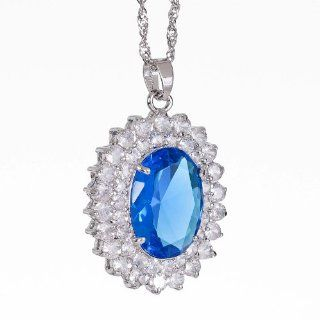 Rizilia Jewelry Stylish Lady White Gold Plated Cz Oval Cut Aqua Blue Color Amazing Pendant Necklace Chain for Dress Jewelry