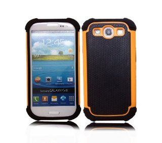 LuxStory Hybrid Rugged Rubber Matte Hard Case Cover For Samsung Galaxy S3 i9300 + Free Screen Protector + Stylus (Orange) Cell Phones & Accessories