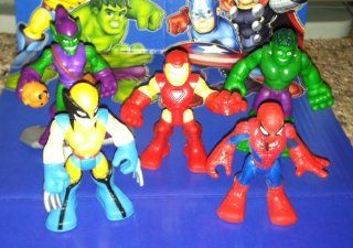 Marvel Super Hero Adventures   Mini Figure Collection (Spider man, Hulk, Iron Man, Wolverine, Green Goblin) Toys & Games