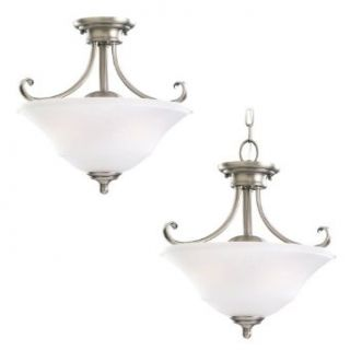 Sea Gull Lighting 77380 965 2 Light Convertible Semi Flush Fixture, Satin Etched Glass Shade and Antique Brushed Nickel   Semi Flush Mount Ceiling Light Fixtures