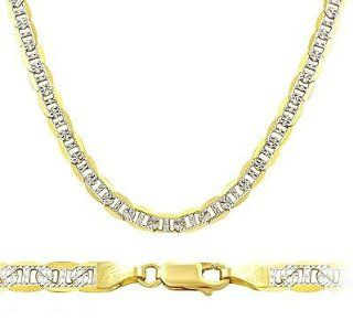 Mariner Necklace 14k Two Tone Gold Chain Chain Pave Links Solid 5mm , 18 inch Jewel Tie Jewelry