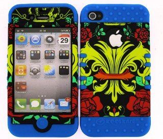For Apple Iphone 4 4s Royal Badge Roses Heavy Duty Case + Light Blue Rubber Skin Accessories Cell Phones & Accessories