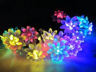 M&T Tech Solar Powered 20 LED String Lights For Garden, Outdoor, Party.Patio, Lawn, Fence, Yard with 4.8M 40 Double Lotus Flower(Multi color)