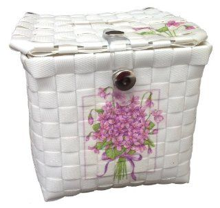 Tissue Holder For Table Vintage Hand Woven Tissue Paper Box White Plastic Fibers Decorate By Decoupage