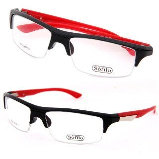 Unisex New Technology TR90 Eyeglasses Lithe Plain Glass Spectacles Frame Black Red 89128 Free Case (Red) Health & Personal Care
