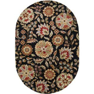 8' x 10' Brahma Kamal Jet Black and Turtle Green Wool Oval Area Throw Rug   Hand Tufted Rugs