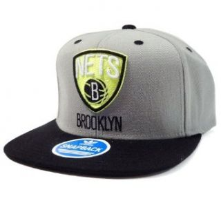 Brooklyn Nets Adidas Gray and Neon Green Snapback Hat Clothing