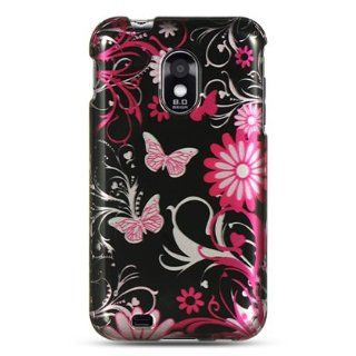VMG T MOBILE SAMSUNG GALAXY S II T989 SII S2   Pink Black Butterflies Design Cell Phones & Accessories