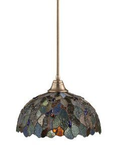 Toltec Lighting 26 BN 995 Stem Pendant Light Brushed Nickel Finish with Blue Mosaic Tiffany Glass, 16 Inch   Ceiling Pendant Fixtures