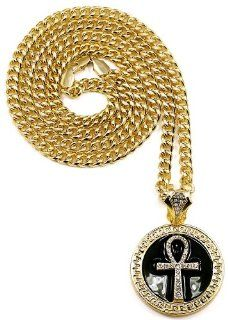 Ankh Necklace New Gold/Black Color Iced Out Medusa Pendant Necklace With 36 Inch 6mm Cuban Link Chain Jewelry