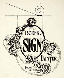 1937 Print Design Sign Cut Out Art Nouveau Scroll Typography Hang Frank Atkinson   Relief Line block Print