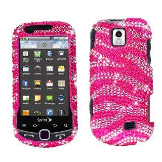 Hard Plastic Snap on Cover Fits Samsung M910 Intercept Hot Pink and White Zebra Full Diamond Sprint Cell Phones & Accessories