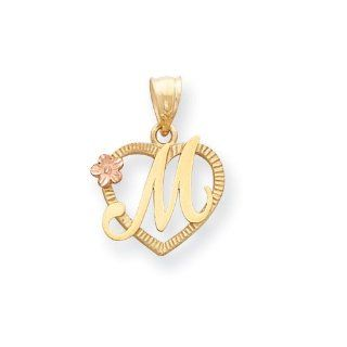 14k Two Tone Initial M in Heart Charm, Best Quality Free Gift Box Satisfaction Guaranteed Jewelry