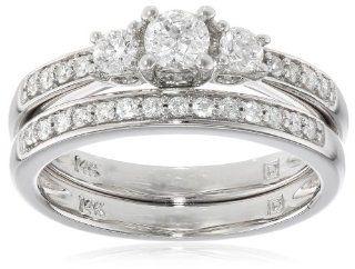 14k White Gold Diamond Bridal Set Ring (1/2 cttw, G H Color, I1 I2 Clarity) Jewelry