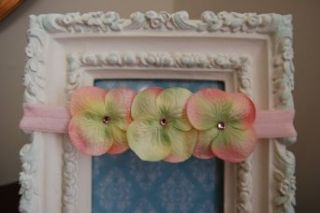 Pretty in Pink Triple Dainty Flowers with Swarovski Crystals Center on Soft Stretchy Light Pink Headband Clothing
