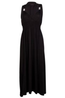 My1stWish Womens 92B Jersey Ladies Sleeveless Stretch Long Maxi Summer Dress Size 4/6 Black