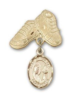 JewelsObsession's 14K Gold Baby Badge with Our Lady Star of the Sea Charm and Baby Boots Pin Brooches And Pins Jewelry
