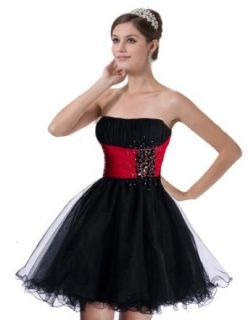 Faironly Black&red Mini Short Formal Prom Cocktail Dress