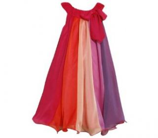 Size 16 BNJ 4508B FUCHSIA PINK MULTI COLORBLOCK CHIFFON OVERLAY TRAPEZE Special Occasion Wedding Flower Girl Party Dress,B44508 Bonnie Jean 7 16 Clothing