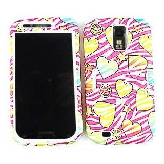 Samsung Galaxy S II S2 S 2 / SGH T989 T Mobile TMobile / Hercules Hot Pink / Magenta and White Zebra with Color Love Hearts Stars Peace Sign Design Hybrid Snap On Jelly Skin Gel and Hard Protective Cover Case Kickstand / Kick Stand Cell Phone (Free by elli