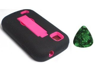 For ZTE Avail 2 Z992 / ZTE Prelude Z993 / Kickstand Hybrid Hard Phone Cover Case Black / Pink + Free Green Stone Pry Tool Cell Phones & Accessories