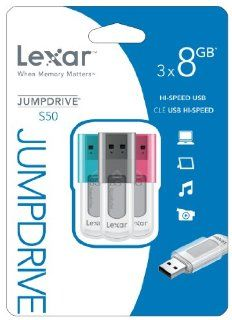 LEXAR JumpDrive S50 8GB USB Flash Drive LJDS50 8GBASBNA3   3 Pack Computers & Accessories