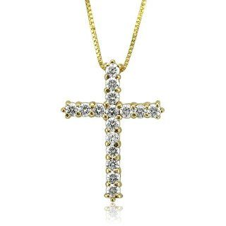 14k Yellow Gold Diamond Cross Pendant Necklace (GH, I1 I2, 0.50 carat) Diamond Delight Jewelry