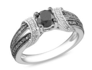 Sterling Silver Accent Black and White Diamond Ring, (1 Cttw, G H Color, I2 I3 Clarity) Jewelry
