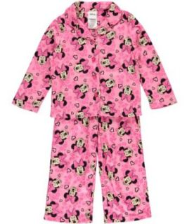 Disney Minnie Mouse Girls Light Pink 2Pc Flannel Pajama Set (4) Pants Pajamas Sets Clothing