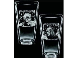 The Walking Dead Etched Pint 2 Glass Set Fresh Meat & Rise and Feed Kitchen & Dining