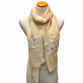 Luxury Divas Light Beige Lightweight Scarf Wrap With Silver Sequin Trim