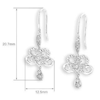 X1000Diamond 18K White Gold Flower Diamond Accented Dangling Earrings (0.35ct,G H Color,VS2 SI1 Clarity) X1000Diamond Jewelry