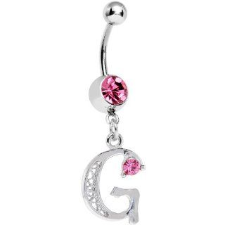 "Passion Pink Jeweled INITIAL Dangle Belly Ring   LETTER ""G"" Body Piercing Barbells Jewelry"