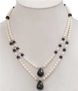 AAA Quality Natural Fresh Water Pearl & Faceted Sapphire Drops Beaded Beautiful Necklace Jewelry