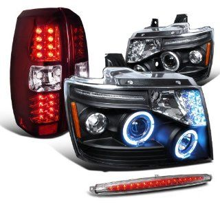 Chevy Avalanche Black Halo Headlights+Red Led Tail Lamps & Clear 3rd Brake Light Automotive