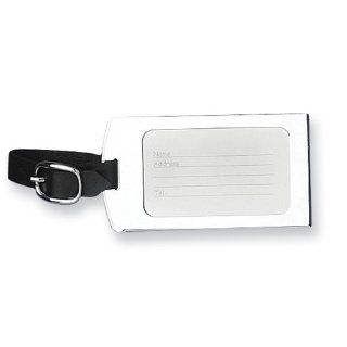 Chrome plated & Black Strap Engraveable Luggage Tag Jewelry
