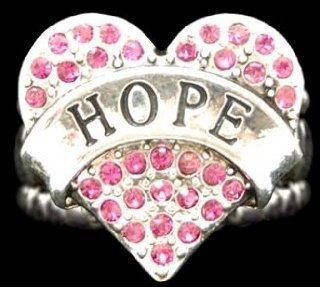 "From the Heart Deep Pink Crystal Rhinestone Heart with Hope engraved across the center on a Silver Metal ""One Size Fits Most"" Stretch Ring.Deep Pink Rhinestones Sparkling  Perfect Gift for the Woman you Love Wonderful Gift for any Woman who"
