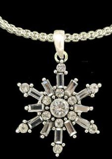 From the Heart Christmas Snowflake Necklace.Snowflake Pendant with Crystal Clear Rhinestone & Faceted Clear Stones which Sparkle Pendant is approximately 1.5 inches long & 1 1/4 inch wide. Silver Metal 18 inch chain included.Mailed in a Gift Box  C