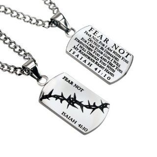 "Christian Mens Stainless Steel Abstinence ""Fear Not   Fear Not, for I Am with You; Do Not Be Dismayed, for I Am Your God. I Will Strengthen You and Help You; I Will Uphold You with My Righteous Hand   Isaiah 4110"" Crown of Thorns Dog Tag Necklac"