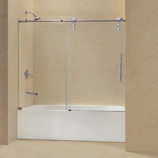 Dreamline SHDR626062008 Bathtub Shower Door, 56 to 59 EnigmaZ Frameless Sliding, Clear 3/8 Glass Polished Stainless Steel