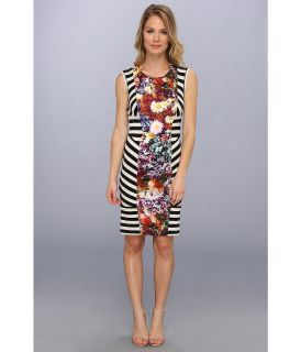Nicole Miller Flower Stripe Stretch Jersey Dress Womens Dress (Multi)