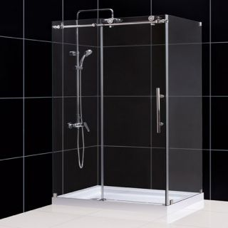 Dreamline SHEN613448008 Shower Enclosure, 34 1/2 by 48 3/8 EnigmaX Fully Frameless Sliding, Clear 3/8 Glass Polished Stainless Steel