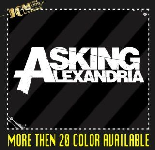 "Set of 2   Asking Alexandria Sign Vinyl Decal Sticker / 6"" X 2.2"" (01 White, Vinyl Type   Permanent   Auto)   Wall Decor Stickers"