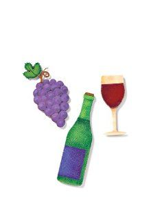 "DEMDACO EMBELLISH YOUR STORY WINE METAL MAGNETS WINE BOTTLE IS 5"" HIGH GRAPES ARE APPROXIMATELY 4"" AND THE WINE GLASS IS 3 1/2"" HIGH Kitchen & Dining"