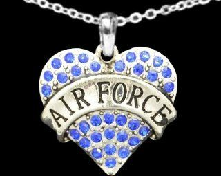 From the Heart Valentine's Day, Mother's Day, or any Day Blue Crystal Rhinestone Heart Necklace celebrating The USA Air Force Military Pendant with Air Force engraved in the center. Heart Pendant is approximately 1 1/2 inch long & Embellishe