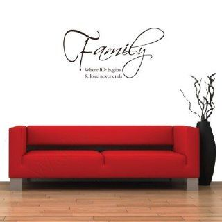 "Toprate(TM) Family where life begins and love never ends vinyl lettering wall sayings art decor decal sticker 23.6"" X 11.8""   Home Decor Products"