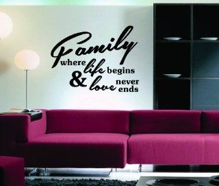 Family Where Life Begins Quote Decal Sticker Famous Quotes Wall Mural   Wall Decor Stickers